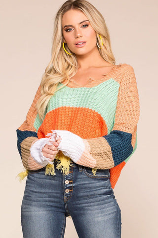 Cuddle Up Oversize Knit Sweater - Mustard and Ivory