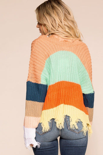 Late Nights Amber Colorblock Distressed Knit Sweater | Miracle Sweater