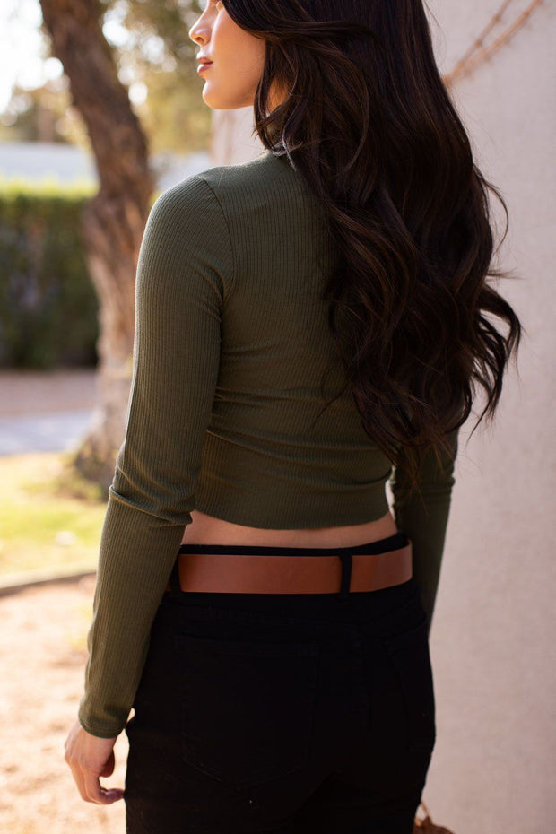 Olive Ribbed Crop Turtleneck