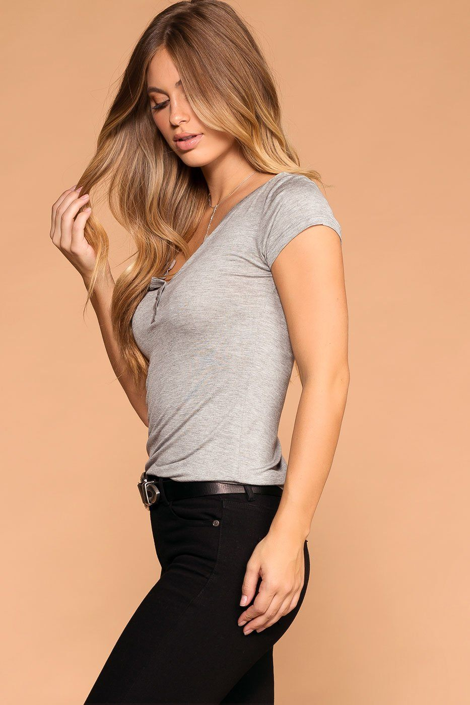 Lazy Days Heather Grey Button Top