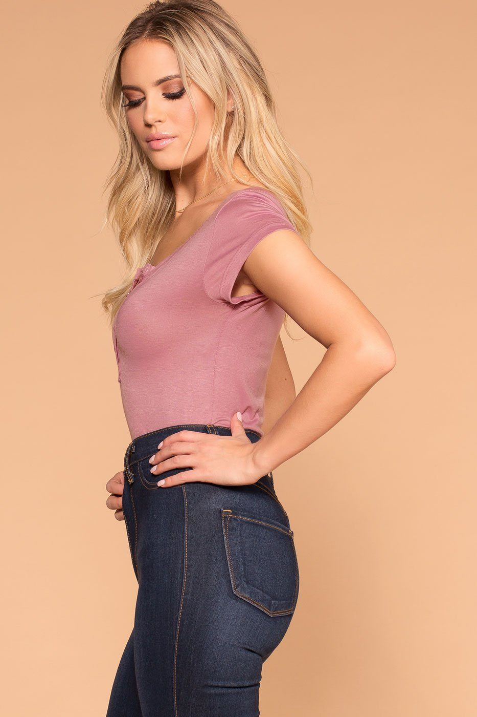 Priceless | Rose | Button Top | Womens