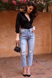 Black Button Down Top