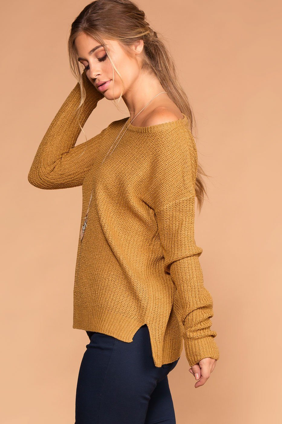 Women's Mustard Knit Sweater Top