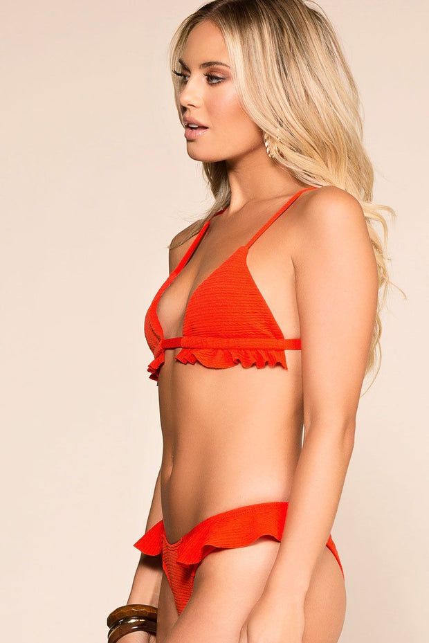 Leap Of Faith Red Swimsuit Top | Ivory