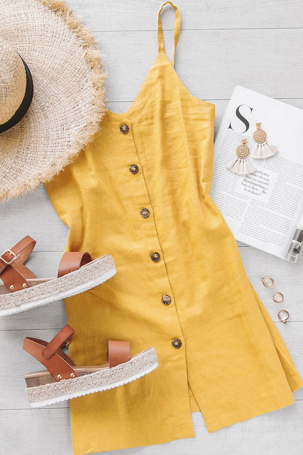 Leave A Message Mustard Button Dress | Timing