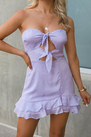 Strapless Lilac Dotted Mini Dress