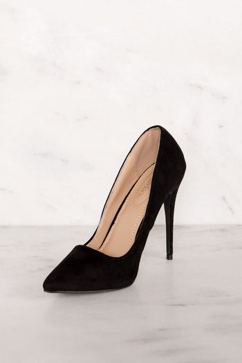 Leila Black Vegan Suede Heels | Shop Priceless