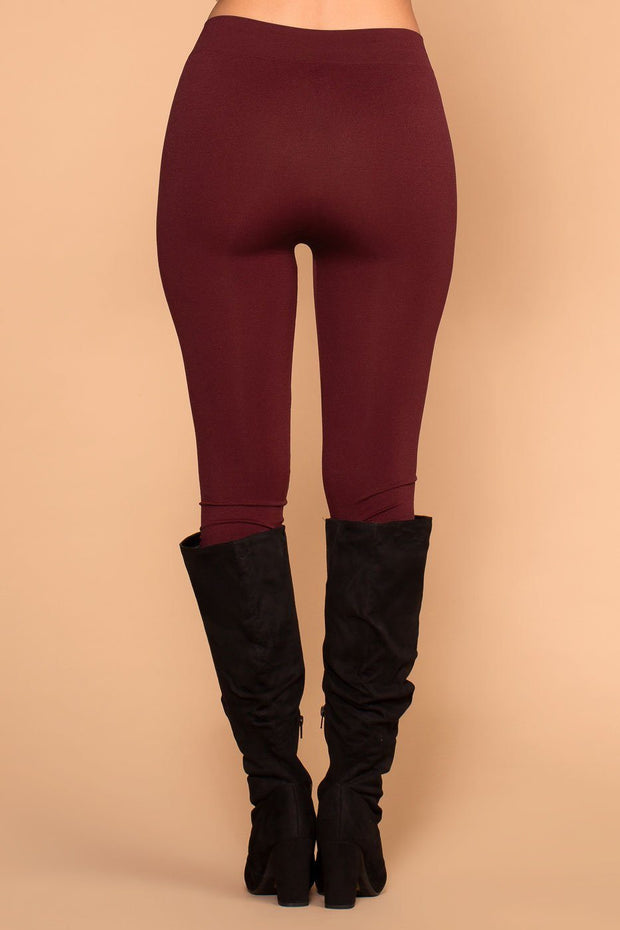 Priceless | Burgundy | Mid-rise Leggings | Womens