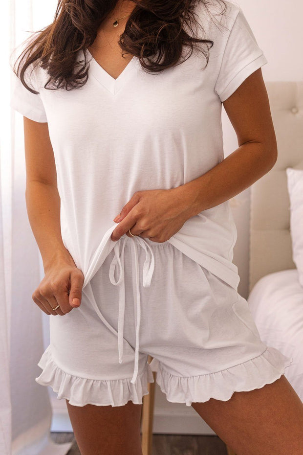 White Ruffle Sleep Shorts
