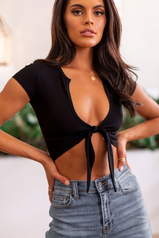 Estelle Black V-Neck Ribbed Bodysuit