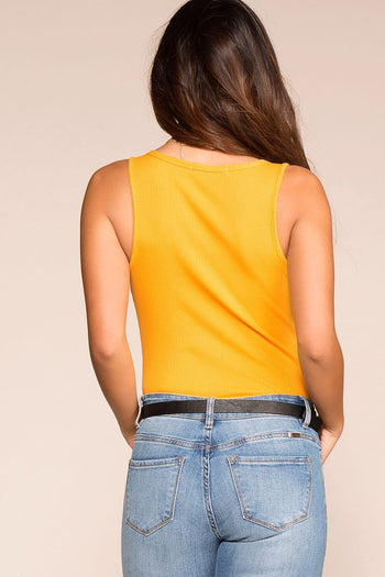 Priceless | Mustard | V-Neck Bodysuit | Button | Womens