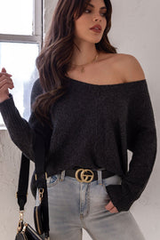 Lexi Charcoal Oversized Knit Sweater