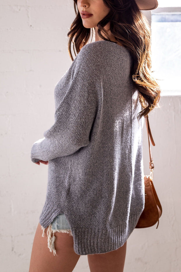 Lexi Grey Oversized Knit Sweater