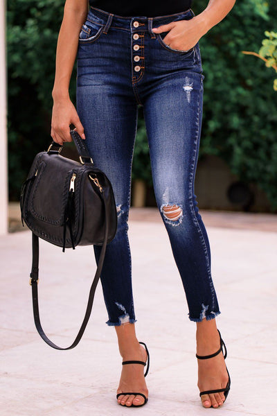 Dark Wash Distressed Denim Skinny Jeans