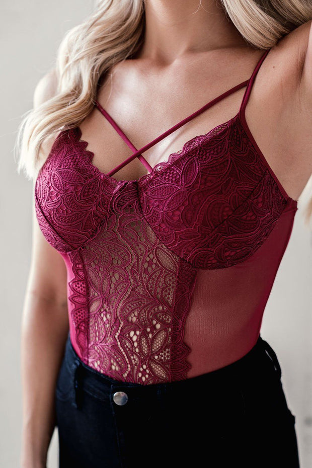 Burgundy Lace Bodysuit