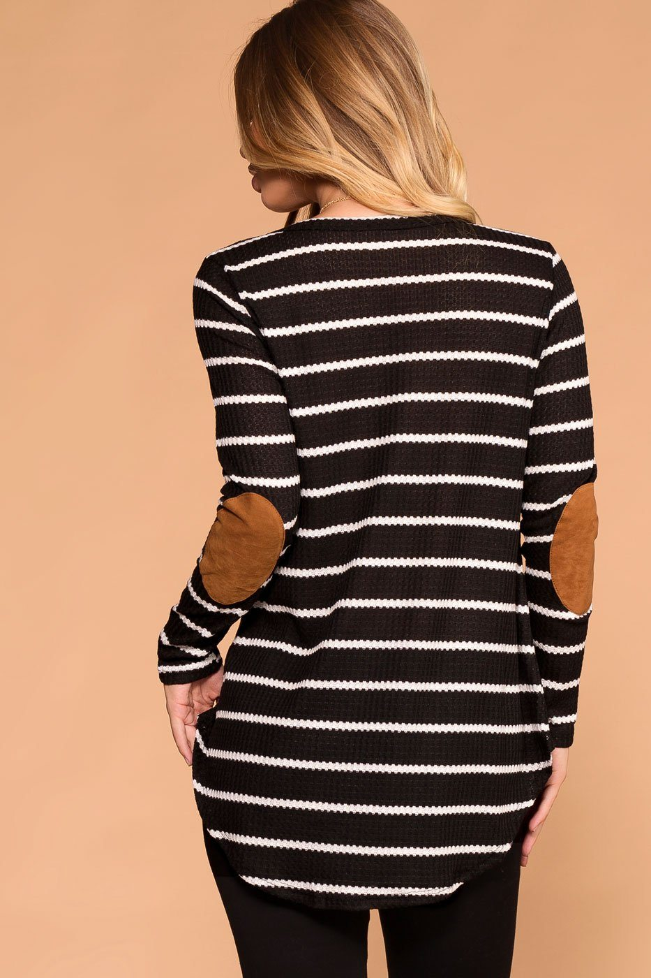 Priceless | Black and White | Stripe Sweater | Elbow Patch | Womens