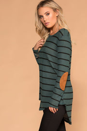 Olive Stripe Elbow Patch Sweater Top