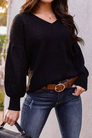 Black Balloon Sleeve Knit Sweater