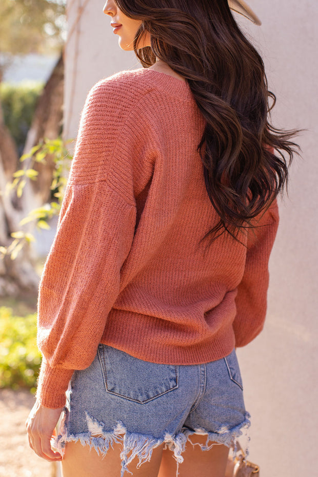 Terracotta Balloon Sleeve Knit Sweater