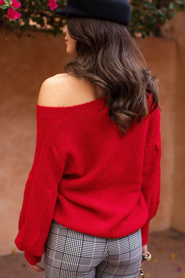 Red Balloon Sleeve Knit Sweater