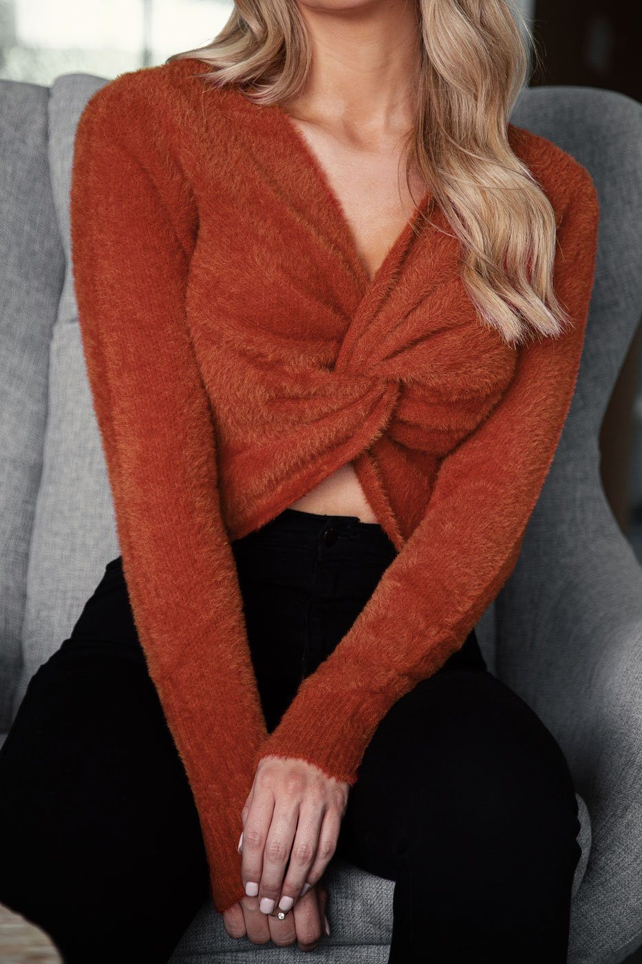 Rust Fuzzy Twist Sweater