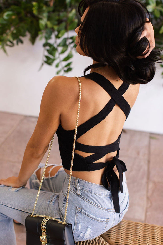 Lilo Black Tie-Back Crop Top