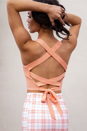 Lilo Peach Tie-Back Crop Top