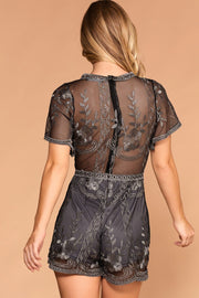 Priceless | Charcoal | Lace Romper | Womens