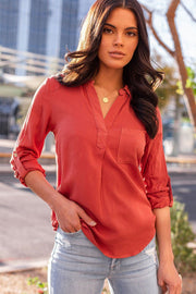 Limitless Rust Collared Top