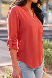Rust Collared Top