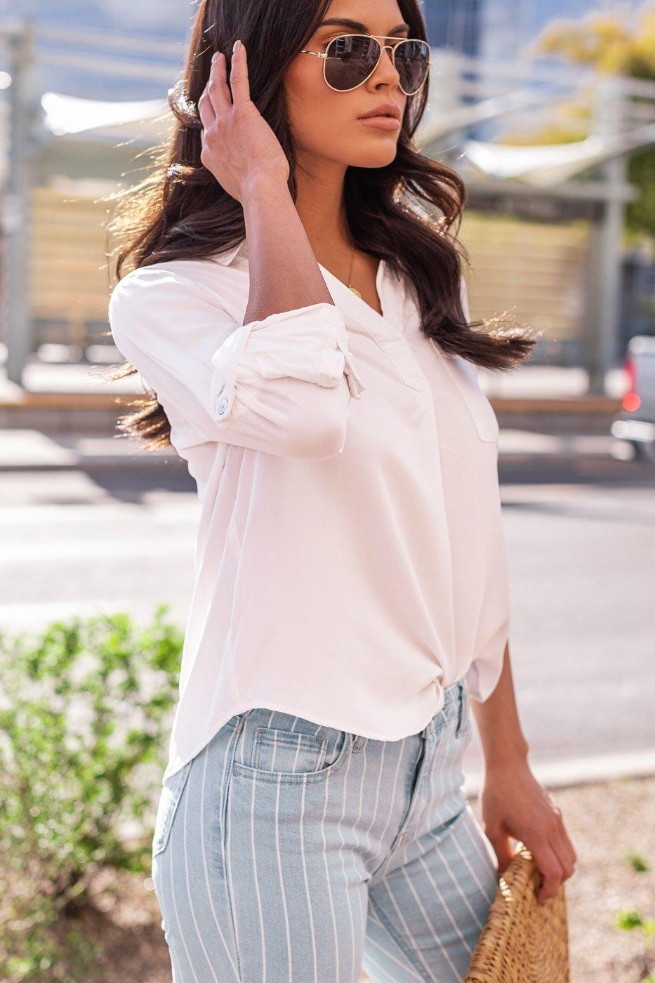 Limitless White Collared Top