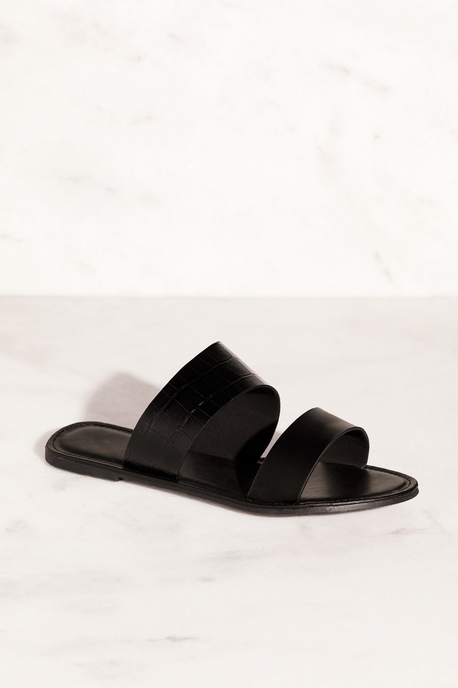 Black Crocodile Slide-On Sandals