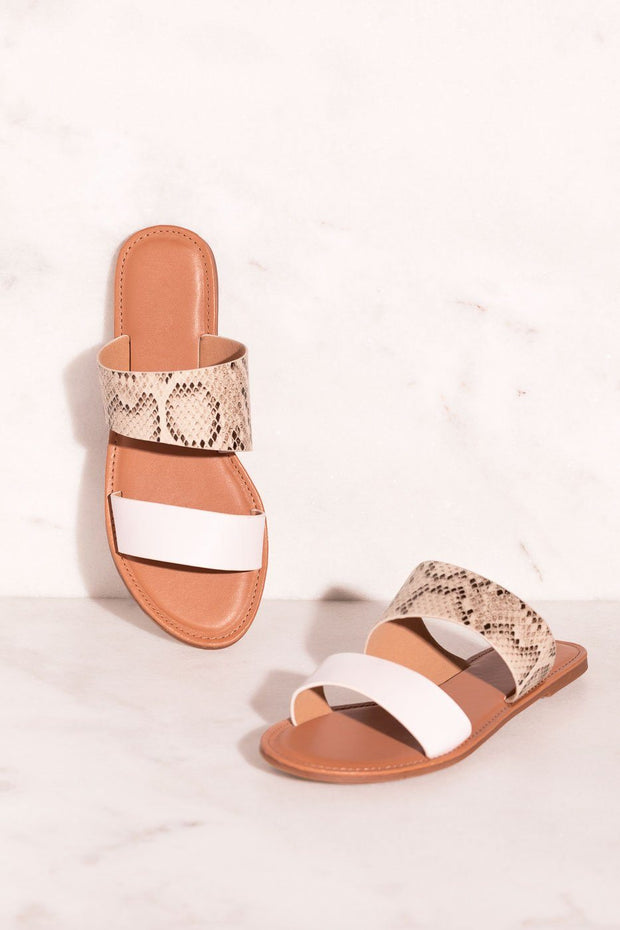 Two-Tone Snakeskin Slide-On Sandals