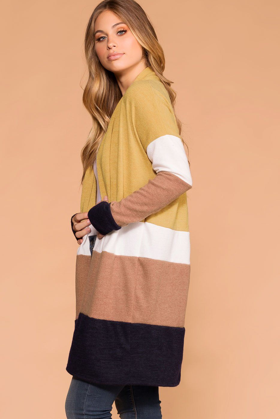 Mustard | Navy | Ivory | Taupe | Color Block Cardigan | Priceless