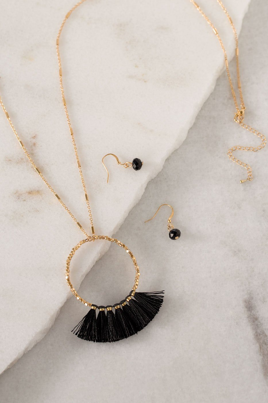 Lisa Black Fringe Necklace Set | Shop Priceless