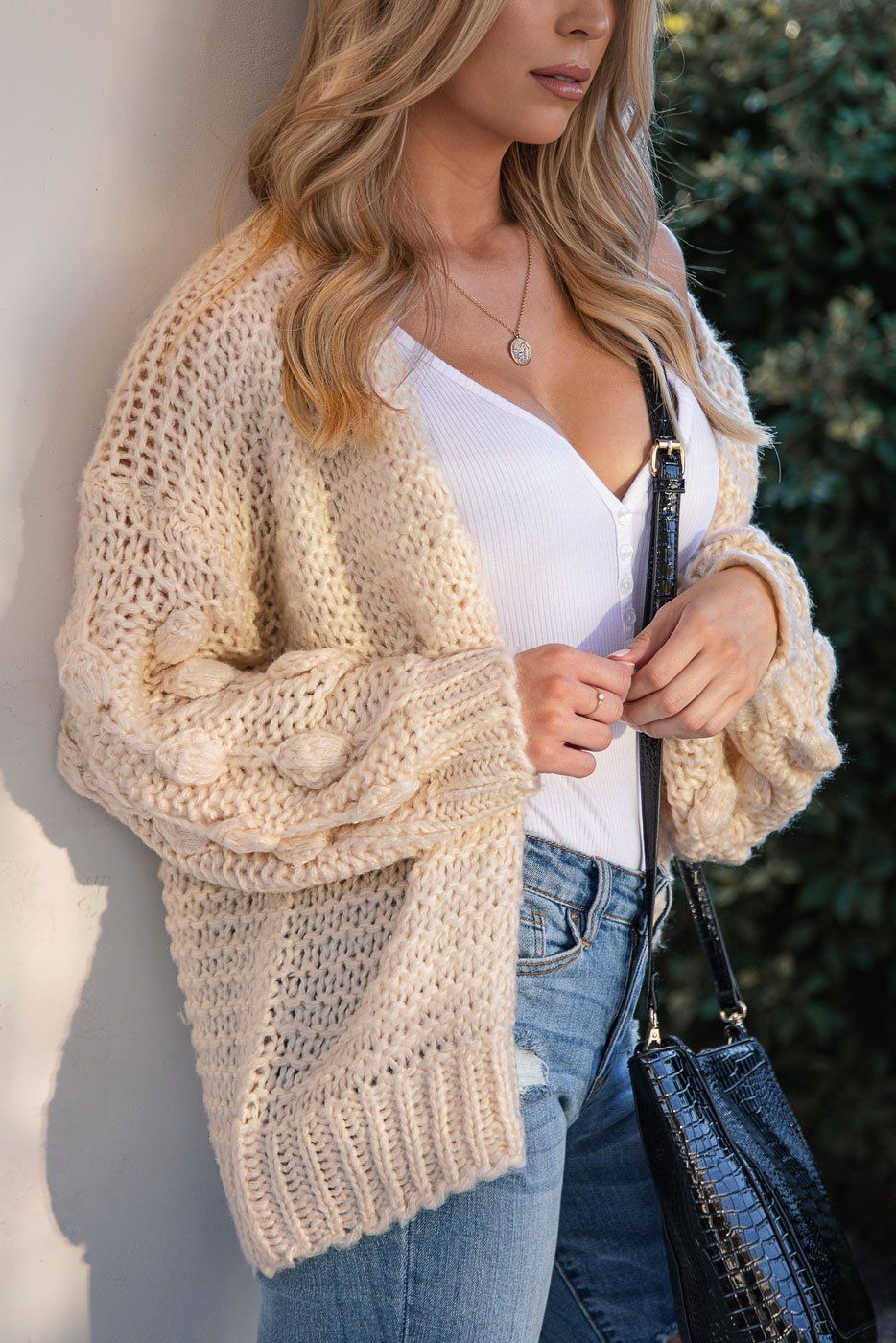 Ivory Bubble Knit Cardigan
