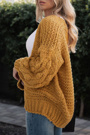 Little By Little Mustard Bubble Knit Cardigan