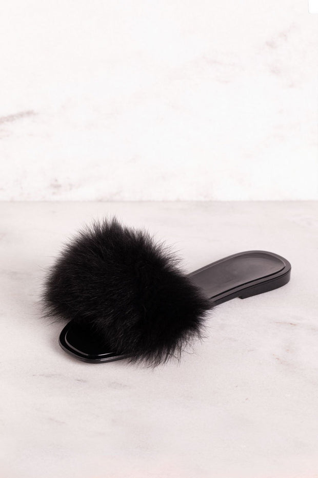 Black Fuzzy Slides