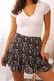 Black Floral Mini Skirt