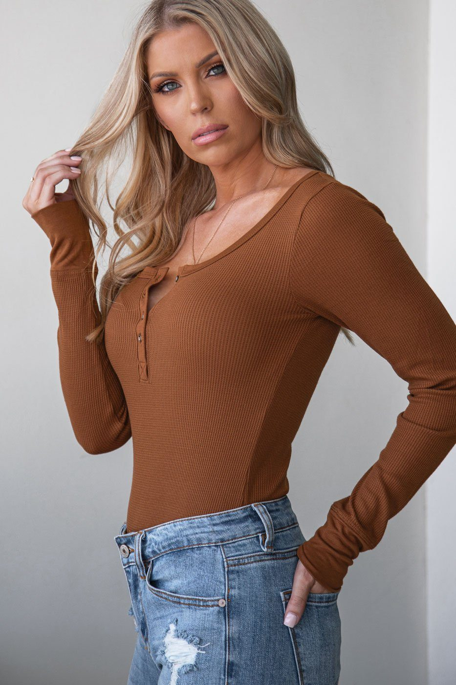 Brown Long Sleeve Button Top