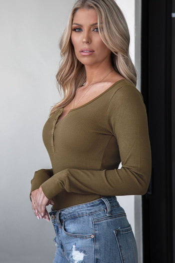 Olive Long Sleeve Button Top