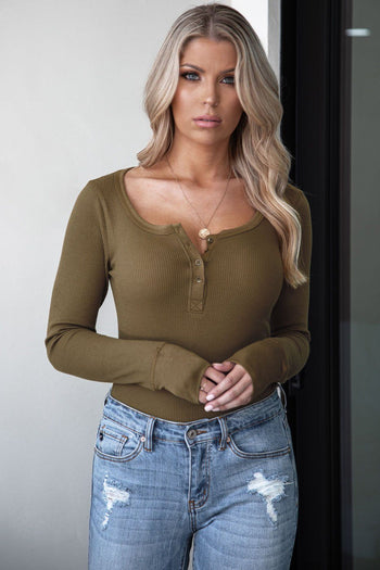 Liv Olive Long Sleeve Top