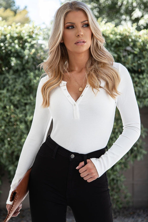 Mavis White Long Sleeve Bodysuit