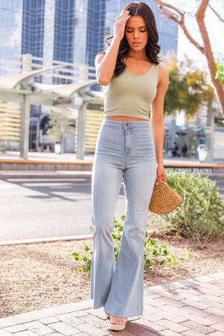Mel Knit Crop Top - Olive