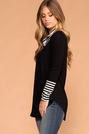 Black | Stripe Turtleneck Top | Longsleeve | Priceless