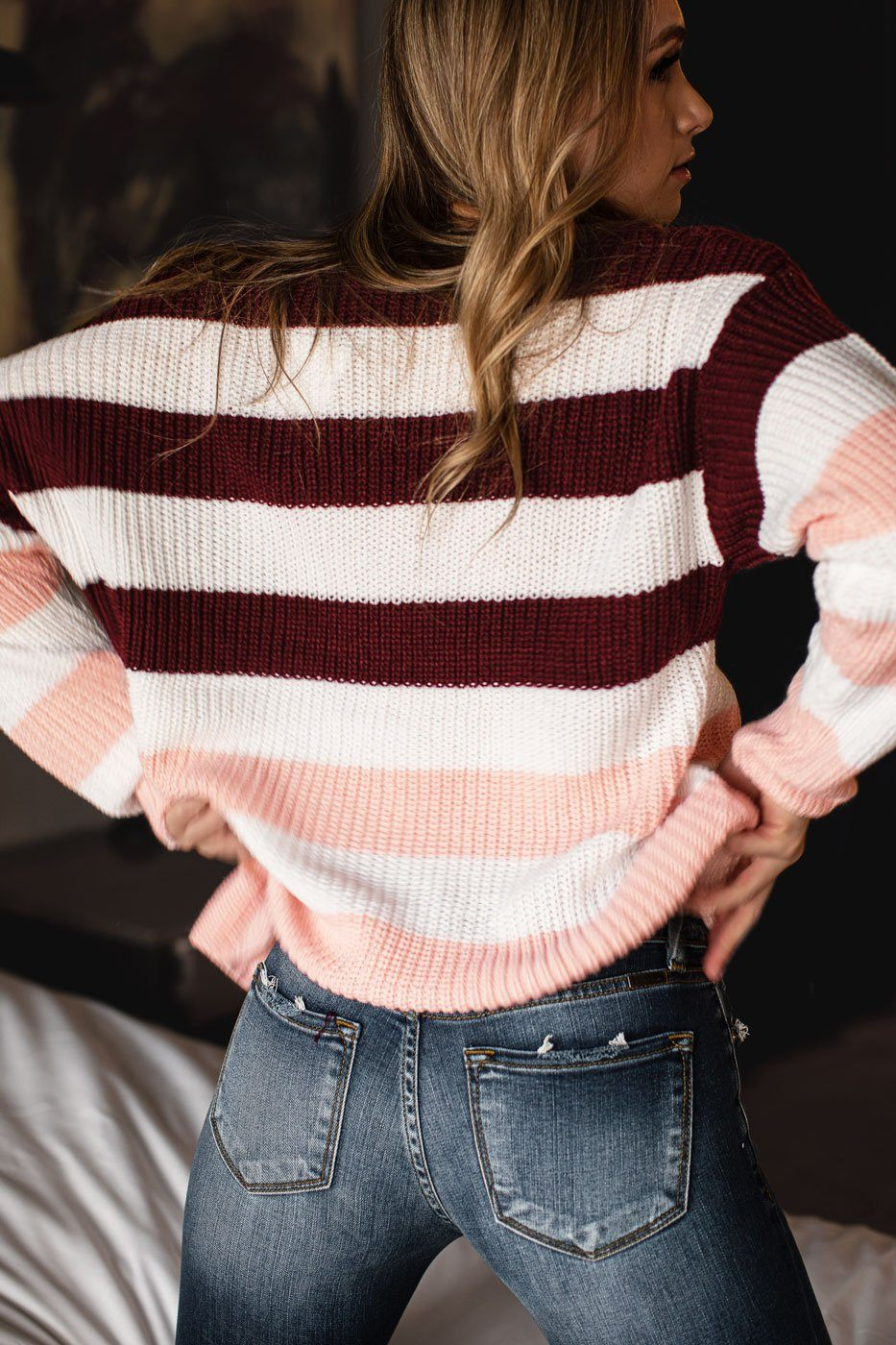 Burgundy and Pink Striped Sweater
