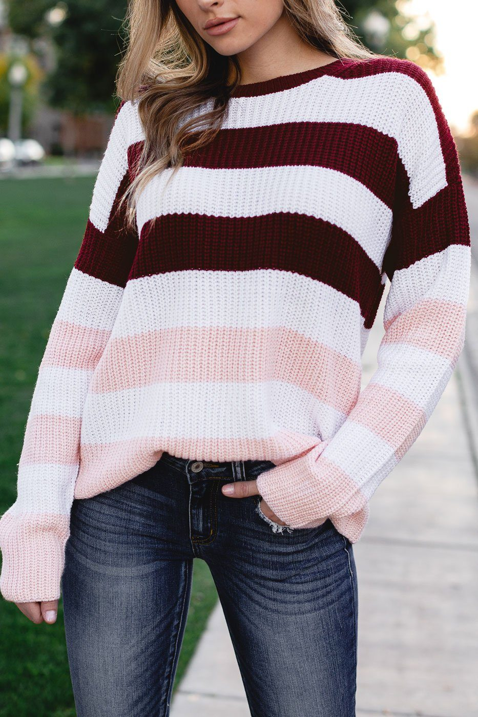Lola Burgundy and Pink Striped Sweater