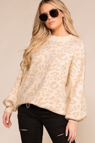 Natural Charm Ivory Leopard Distressed V-Neck Sweater