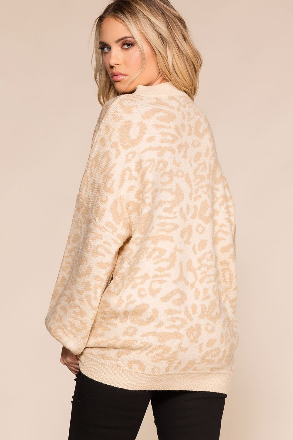 Priceless | Ivory Leopard | Oversized Crew Neck Sweater | Womens