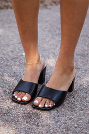 Black Slide-On Heels